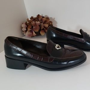 Brighton Leather Black & Brown Jerri Loafer 7.5 M